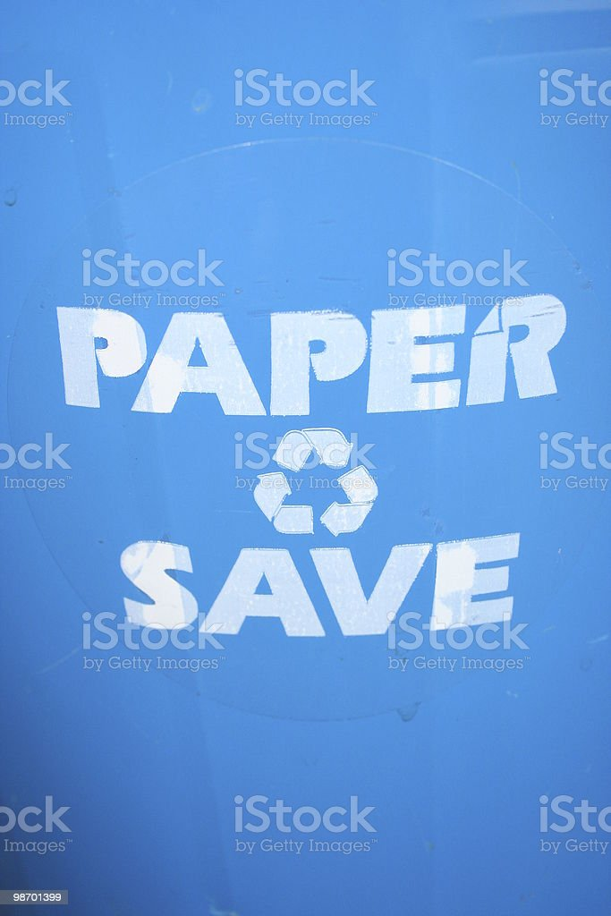 Blue Recycle Bin in my Office royalty-free stock photo
