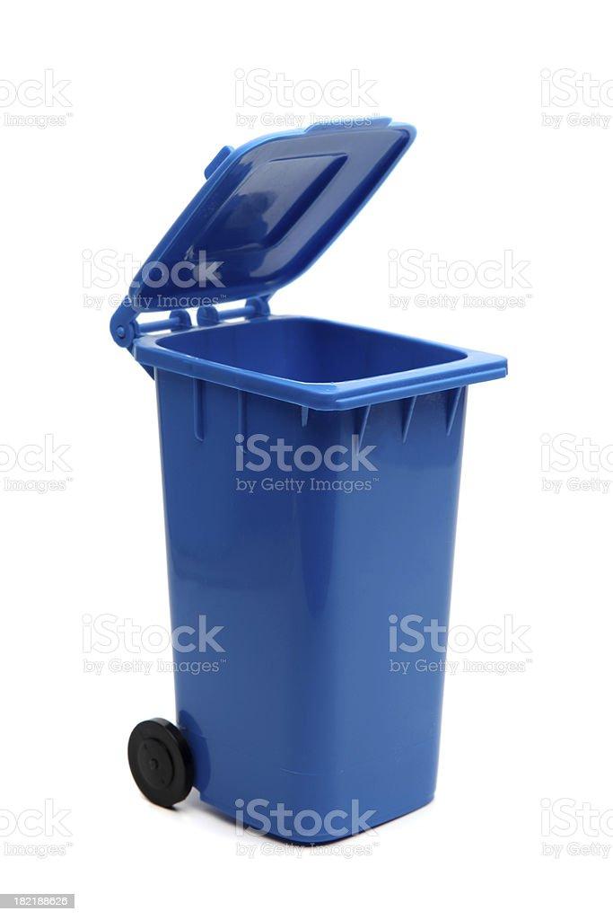 Blue Recycling bin stock photo