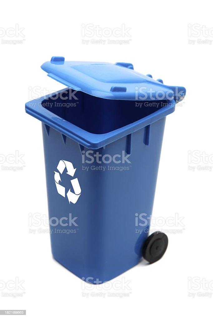 Blue Recycling bin royalty-free stock photo