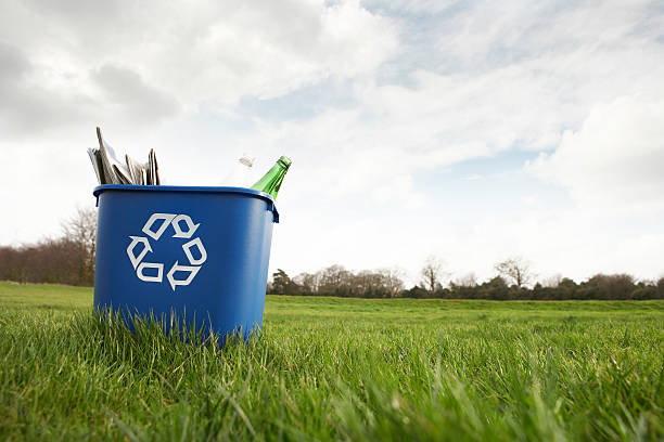blue recycling bin sitting on grass - recycling symbol stock photos and pictures