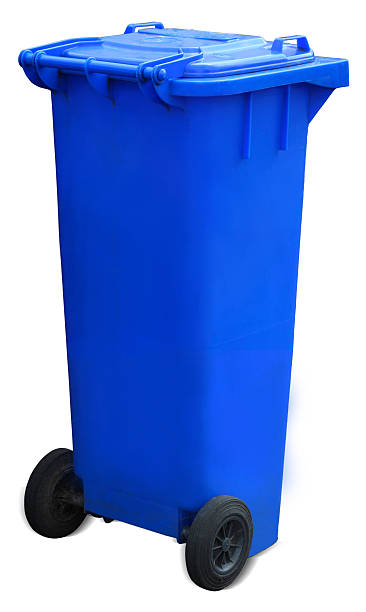Blue Recycling bin - with clipping path stock photo
