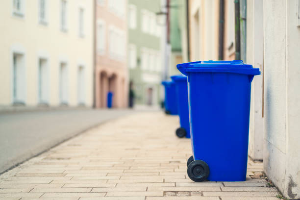 blue recycling container germany stock photo