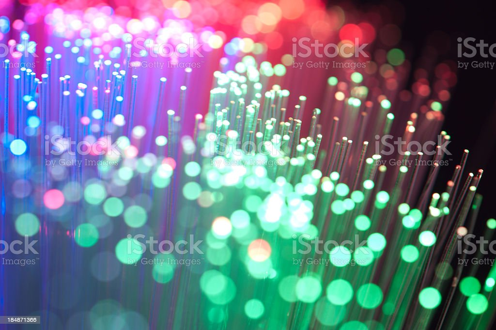 Blue, Red and green fibre optical cables stock photo