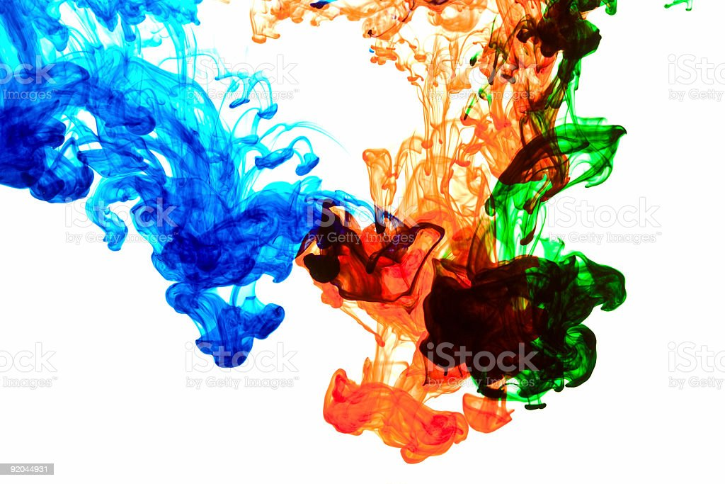 Blue Red and Green Ink royalty-free stock photo