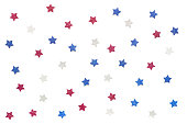Blue red and white glitter star paper cut on white background - isolated