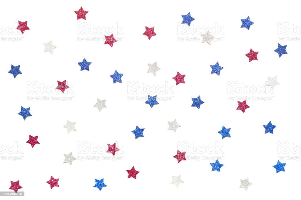 Blue red and white glitter star paper cut on white background stock photo