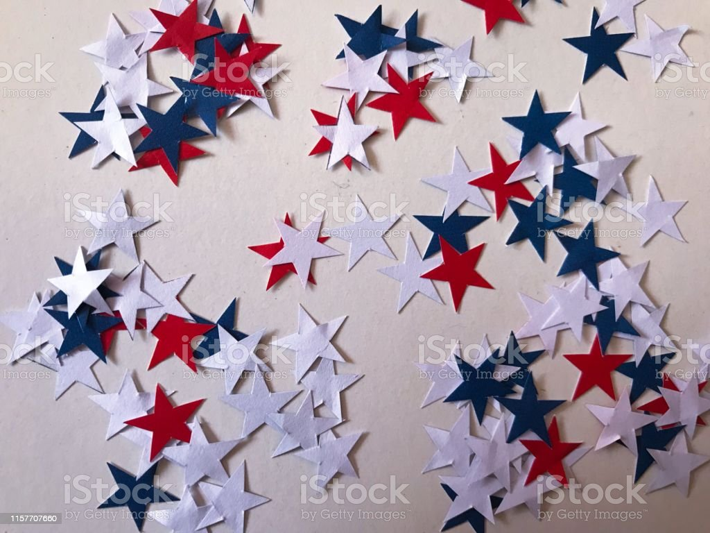 Blue , Red and white star paper background