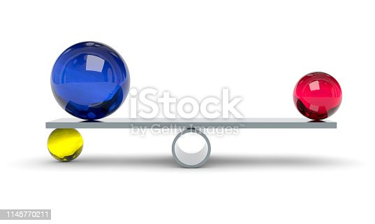 3d illustration of a blue red and yellow ball on a scale
