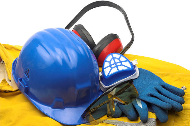 Blue, red and yellow safety equipment and uniform stock photo