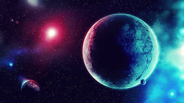Blue Red Galaxy Digital generated image planet space stock pictures, royalty-free photos & images