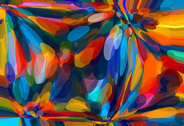 blue red orange yellow circle pattern abstract - forme bidimensionnelle photos et images de collection