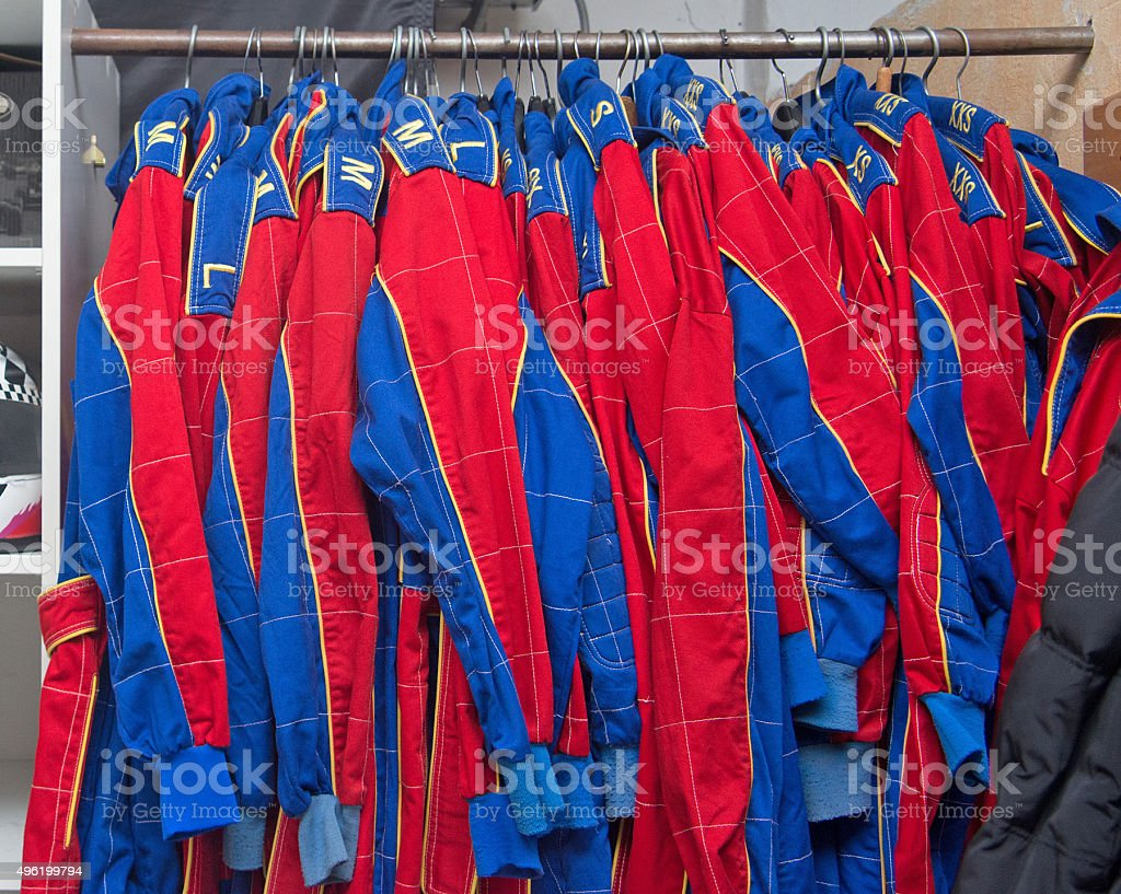 blue red racing overall stock photo