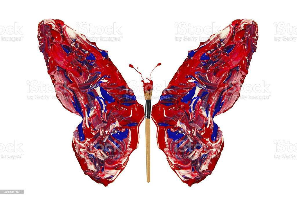 Photo Libre De Droit De Bleu Blanc Rouge Peinture De Papillon En