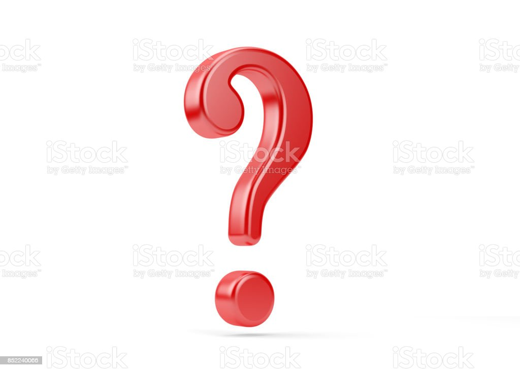 Blue Red Yellow Question Mark Symbol .Isolated On White Background stock photo