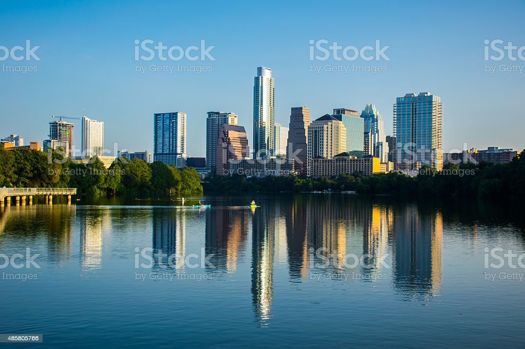 Blue Reflections of the Violet Crown Austin Texas City stock photo
