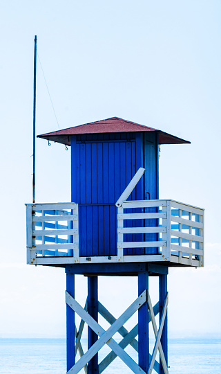Blue Rescue Hut On A Sandy Beach Safe Relax By The Ocean A Beautiful Sunny Day Stock Photo - Download Image Now