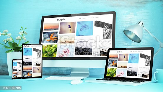 blue responsive desktop with devices showing responsive portfolio website 3d rendering