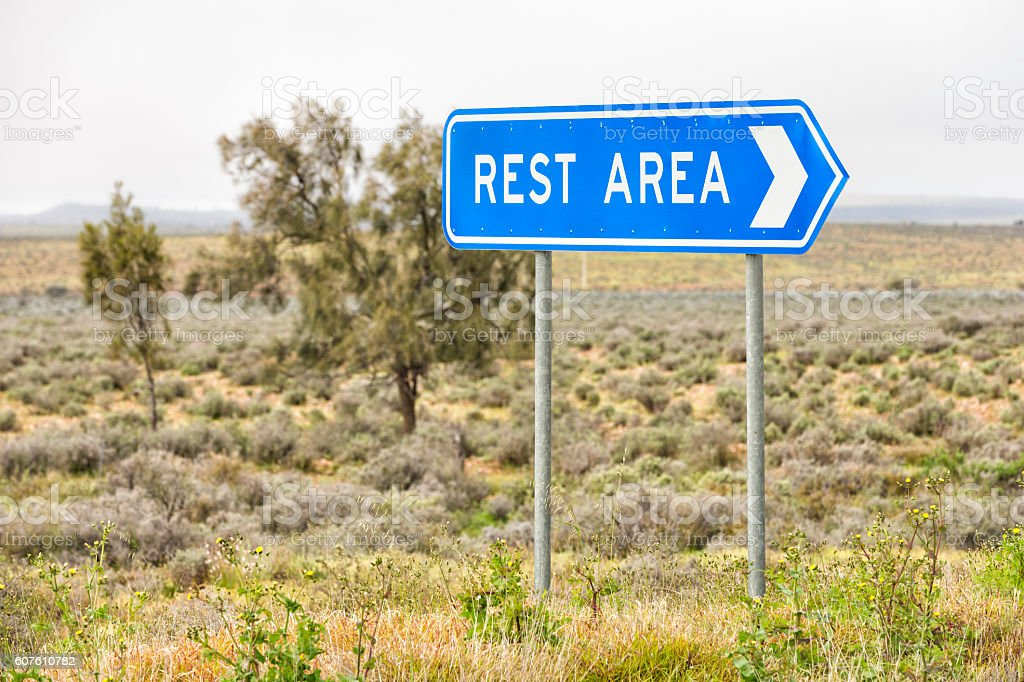 Blue rest area sign stock photo