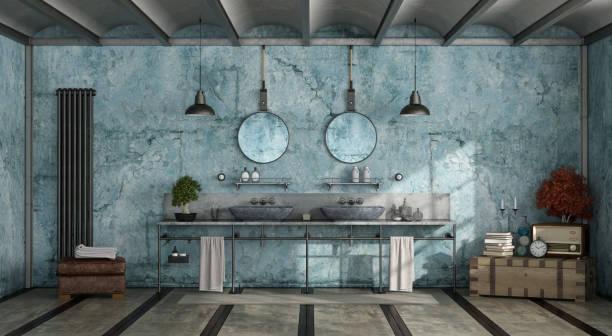 blau retro-bad - badezimmer rustikal stock-fotos und bilder