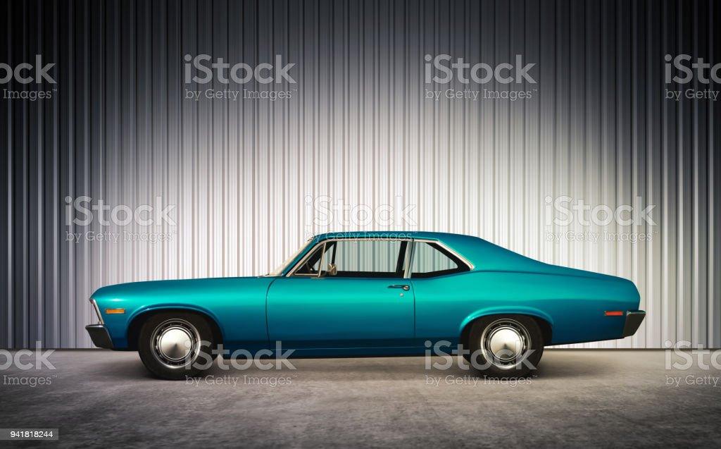 blue retro car at hight stock photo