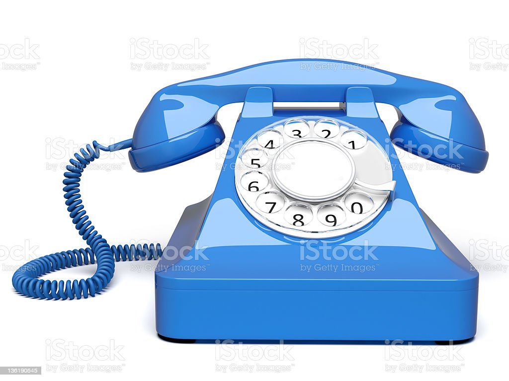 blue retro styled telephone front view royalty-free stock photo