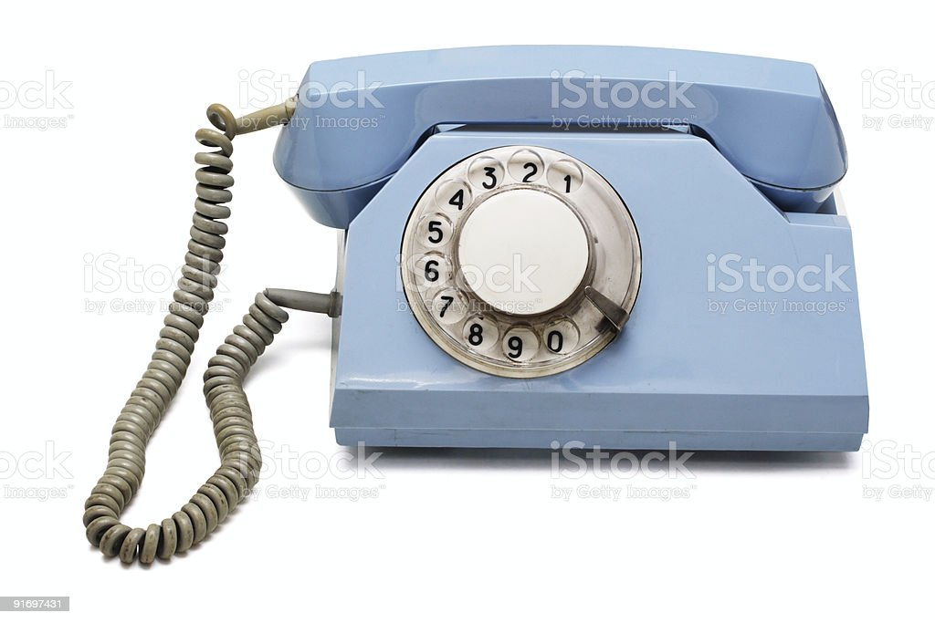 Blue retro telephone royalty-free stock photo