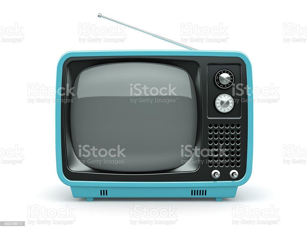Blue retro TV on white background stock photo