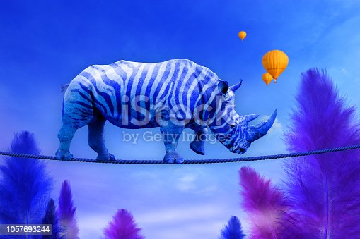 Blue rhino with zebra lines walking on a rope over blue feather trees background