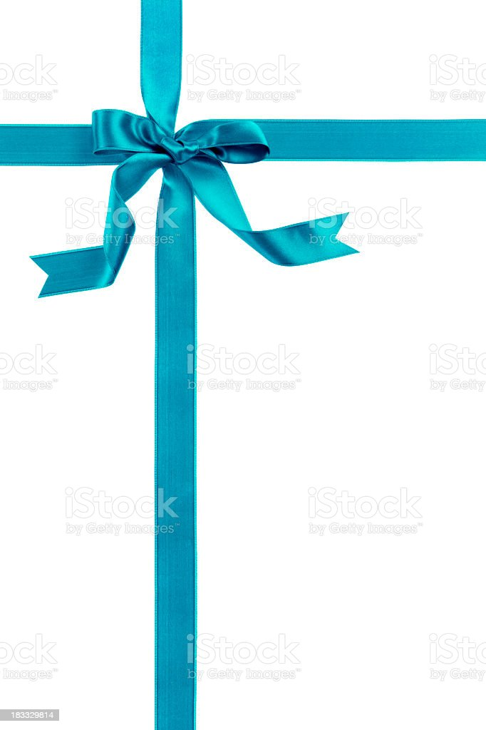 Blue ribbon and bow over a white background stock photo