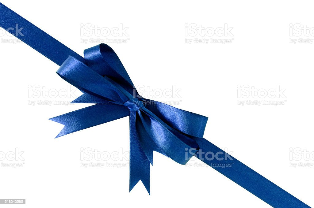 Blue ribbon and bow stock photo