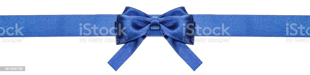 blue ribbon and symmetric bow with square cut ends stock photo