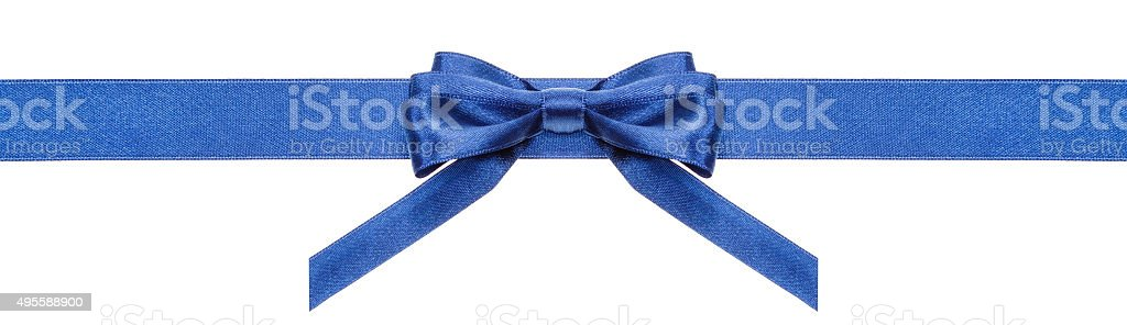 blue ribbon and symmetric bow with vertical ends stock photo