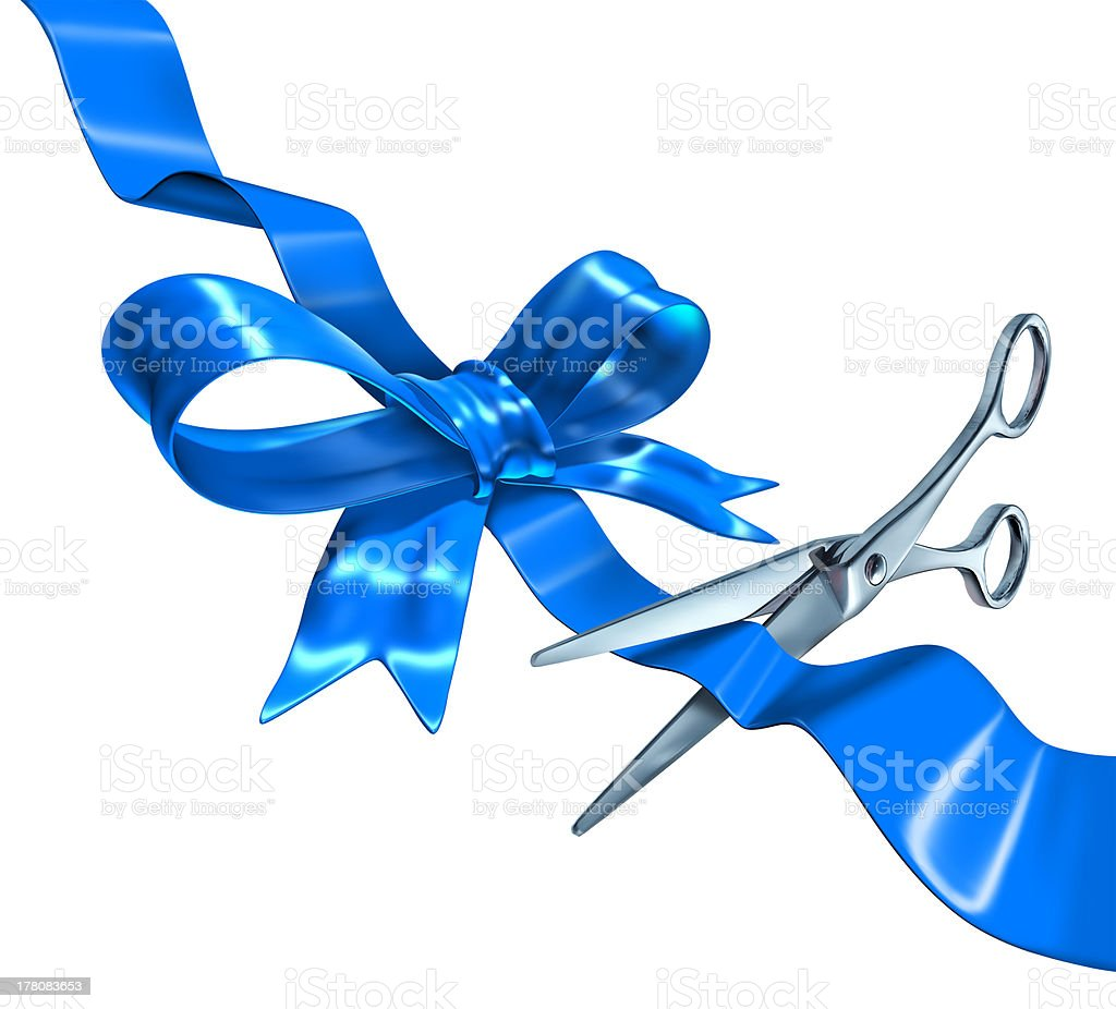 Blue Ribbon Cutting stock photo