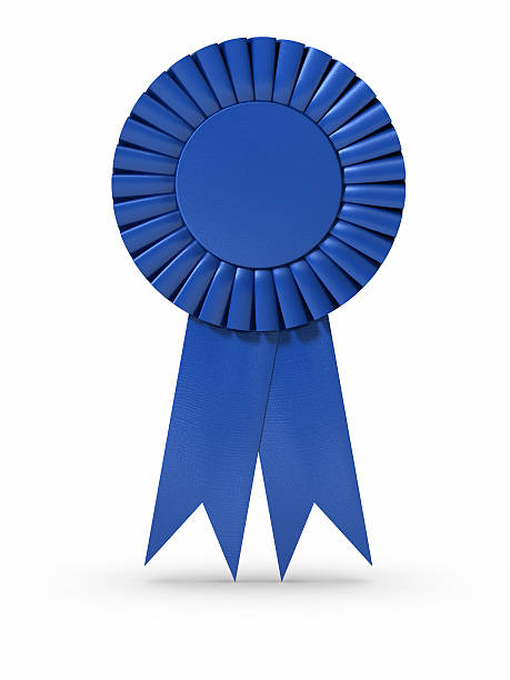 blue ribbon (isolated) - award ribbon stock photos and pictures