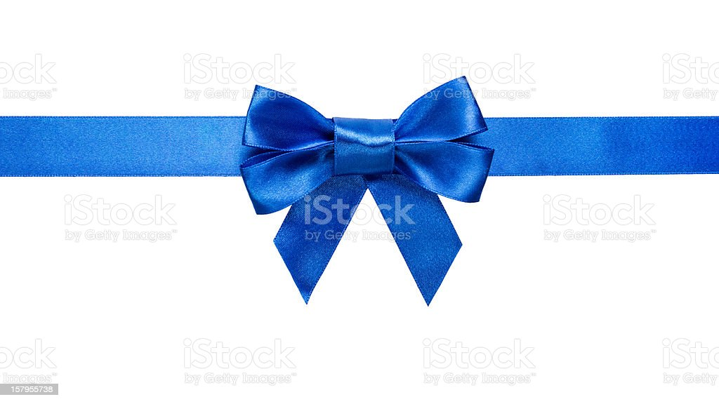 blue ribbon with bow and tails stock photo