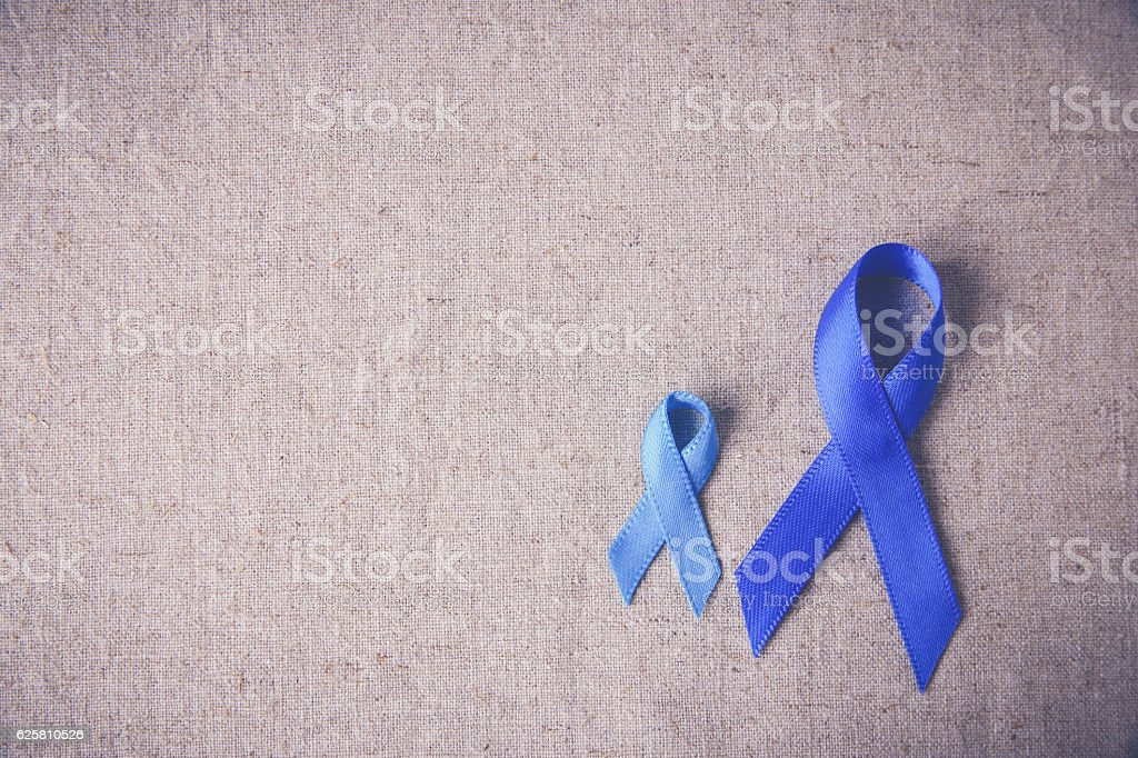 Blue ribbons toning background, Colon Cancer, Colorectal Cancer, stock photo