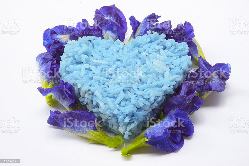 Blue Rice made from Butterfly Pea flower Good for health. stock photo