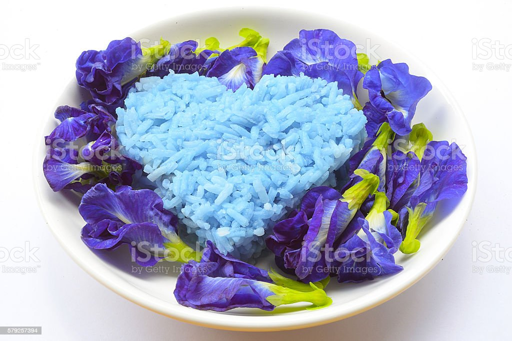 Blue Rice made from Butterfly Pea flower stock photo
