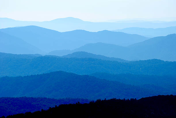 Blue Ridge Mountain Range Vibrant Layers Scenic view of Blue Ridge Mountains in North Carolina with multi layers and colors of blue blue ridge mountains stock pictures, royalty-free photos & images