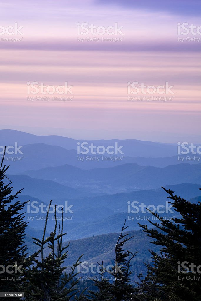 Blue Ridge Mountains at Dusk stock photo