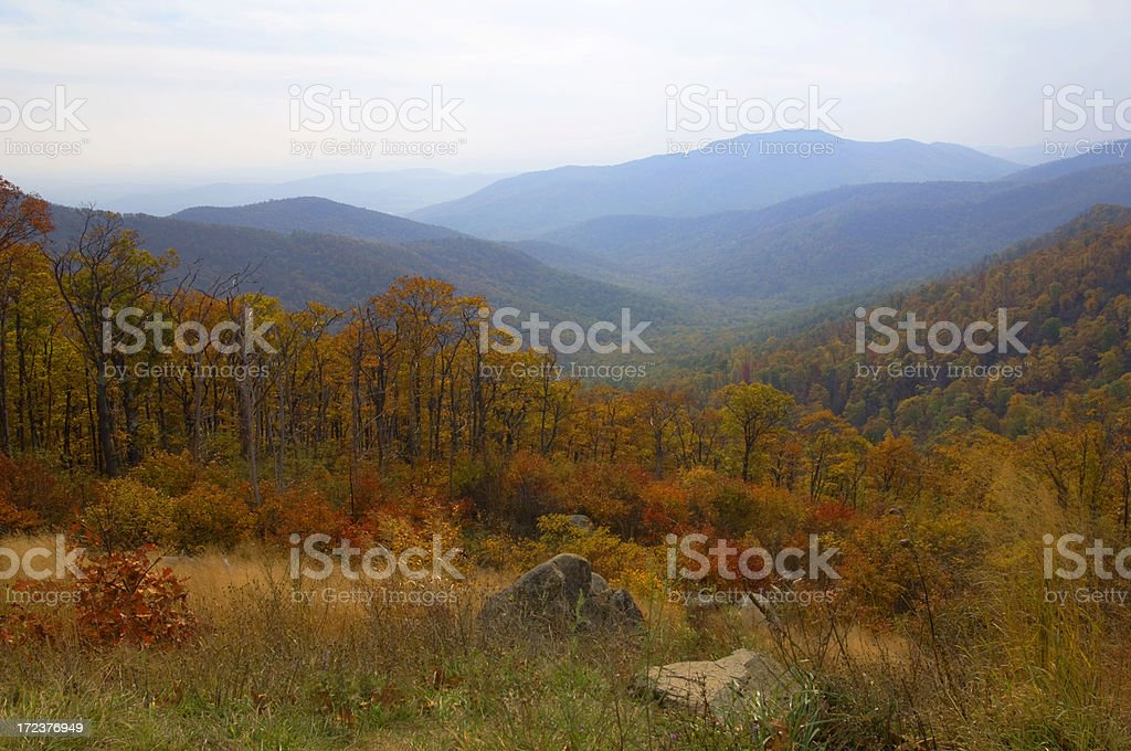 Blue Ridge Mountains in Colorful Autumn Splendor royalty-free stock photo