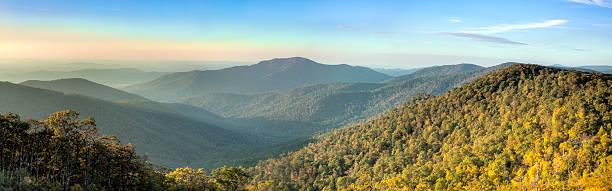 Blue Ridge Mountains in Early Morning Panorama stock photo