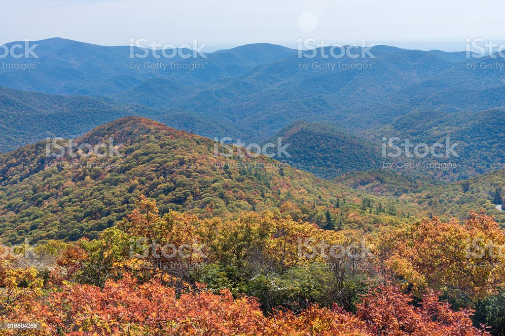 Blue Ridge Mountains in North Georgia Autumn Season stock photo