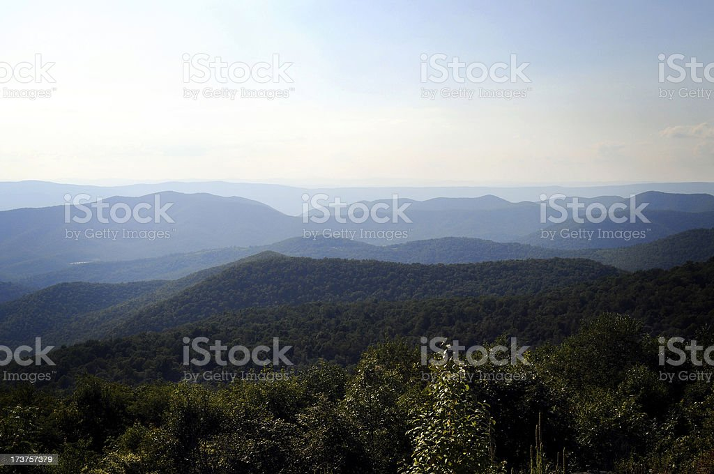 Blue Ridge Mountains in summer time royalty-free stock photo