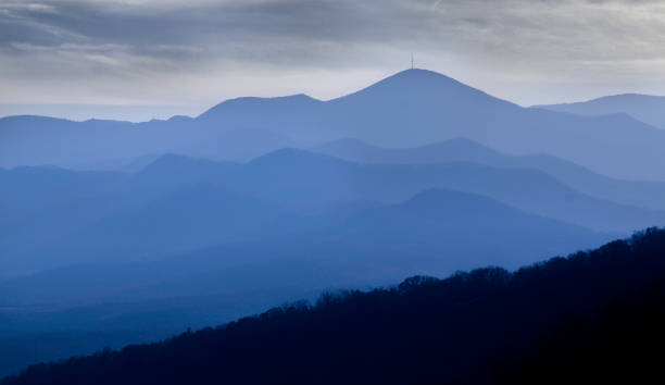 Blue Ridge Mountains of North Carolina with dramatic sky Blue Ridge Mountains of North Carolina with dramatic sky blue ridge mountains stock pictures, royalty-free photos & images