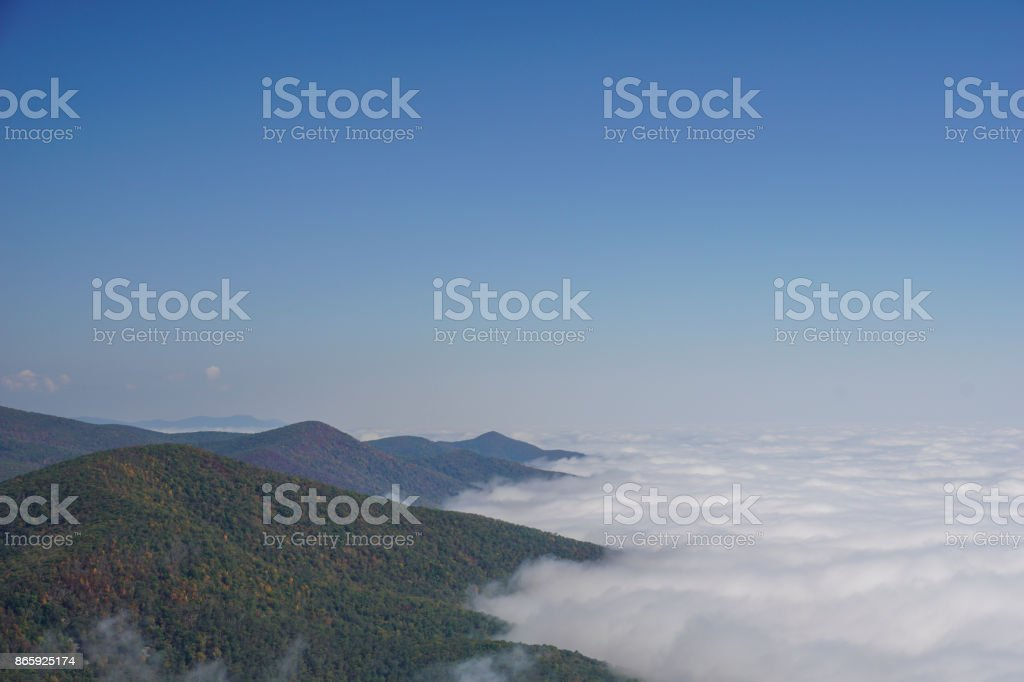 Blue Ridge Mountains Rising Above the Clouds in Virginia stock photo