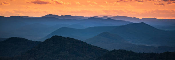 Blue Ridge Mountains scenic panorama vista view stock photo