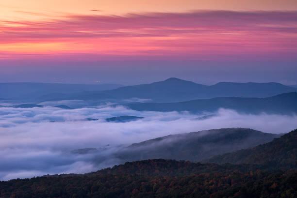 Blue Ridge Mountains scenic sunrise stock photo