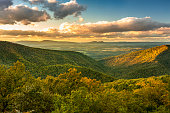 Tree covered hills of the Blue Ridge Mountains in North Carolina USA