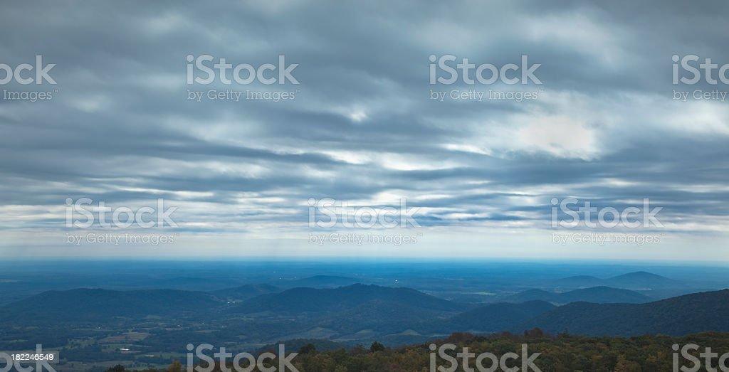 Blue Ridge Mountains Under a Stormy Sky Panorama stock photo